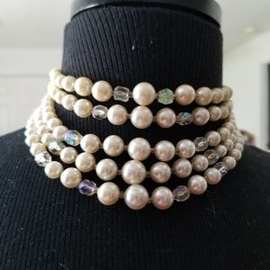 Pearl and crystal necklace costume jewelry